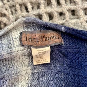 Free People Blue and Grey Knit Scarf